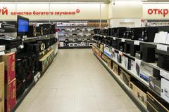 Khimki, Russia - December 22 2015. Speakers in Mvideo large chain stores sell Stock Photos