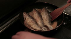 Stirring seafood in pan, close up - stock footage