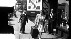 Woman Carries Suitcase Chicago Depression Era 1930s Vintage Film Home Movie 8898 - stock footage