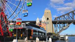 Panning shot of Sydney Harbour Bridge in 4k Stock Footage