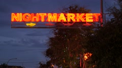 Neon sign of night market,Siem Reap,Cambodia Stock Footage