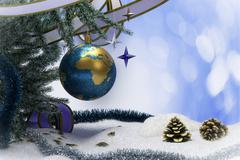 Happy New Year and Merry Christmas background with earth - stock illustration