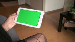 Stock Video Footage of Ipad Tablet Green Screen Monitor Black Businesswoman Business Woman Working
