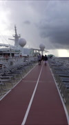 Grand Cayman cruise ship exercise track rain storm vertical 047 Stock Footage
