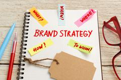 Brand marketing strategy concept with kraft tag on office desk - stock photo