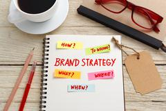 Brand marketing strategy concept with notebook, brand tag and coffee cup on o - stock photo