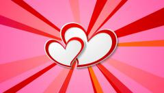 Valentine Day video animation with paper hearts - stock footage