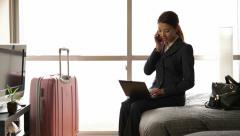 Japanese Businesswoman Woman Working With Computer Hotel Room Business Travel Stock Footage