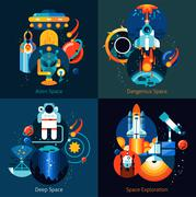 Space Flat Set - stock illustration
