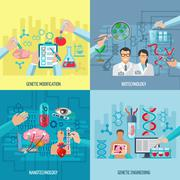 Biotechnology Icons Composition Square Concept - stock illustration
