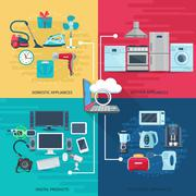 Household Icons Composition Square Concept Stock Illustration