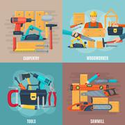 Carpentry Design Concept Set Stock Illustration
