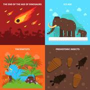 Dinosaurs Concept Set Stock Illustration
