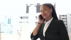 Manager Happy Businesswoman Business Woman Talking On Telephone During Work - stock footage