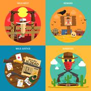 Cowboy Concept Set Stock Illustration