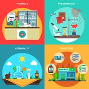 Pharmacy Concept Set - stock illustration