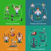 Set Of 2x2 Fitness Images - stock illustration