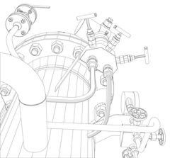 Scetch of heat exchanger - stock illustration