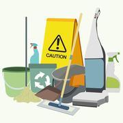 Set of cleaning service emblems, labels and designed elements. Stock Illustration
