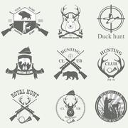 Set of vintage labels on hunting Stock Illustration