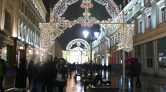 Street with Christmas garlands in Moscow in December 2015 Stock Footage