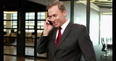 Smiling businessman on phone call Stock Footage