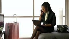 Multi-ethnic Businesswoman Woman Working With Computer Hotel Room Business Tr Stock Footage
