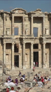 Ephesus Turkey Ancient tourists Library of Celsus vertical HD 028 Stock Footage