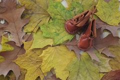 Baby leather shoes Stock Photos