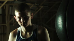 Combative look of the young boxer Stock Footage