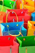 Shopping colorful sale paper bags close-up - stock photo