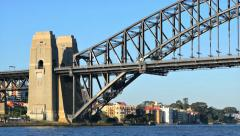 Panning shot of Sydney Harbour Bridge and North Sydney in 4k Stock Footage