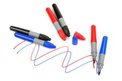 set of colored markers - stock photo