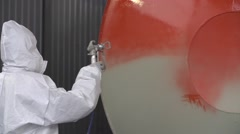 Professional Airbrush Metal Painting in Red Color - stock footage