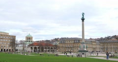 Castle Square In Stuttgart Stock Footage