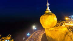 Golden Rock Pagoda (Kyaikhtiyo Pagoda) Famous Travel Place Of Myanmar zoom Stock Footage