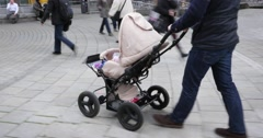 Stock Video Footage of Dad Walking With Baby Stroller