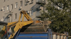 Construction machinery working on site. Bulldozer - stock footage