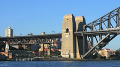 Train crossing Sydney Harbour Bridge in 4k Stock Footage
