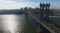 Aerial. Manhattan Bridge In New York City. Camera moving toward Brooklyn. - stock footage