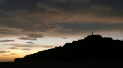 Sunset at Christ of the Mercy statue - stock footage