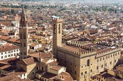 Palazzo del Bargello and Badia Fiorentina steeple, Florence, Tuscany, Italy. Stock Photos