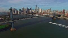 Aerial view of Manhattan Bridge In New York. Camera approaches Manhattan. Stock Footage