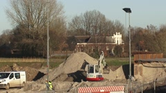 Construction site in the river foreland, creating a high water channel Stock Footage