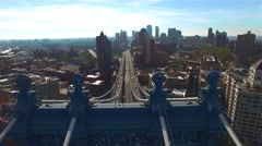 Brooklyn bridge aerial in summer, camera moving right over the bridge. Stock Footage