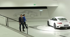 Interior And Exhibits Of Porsche Museum 4k Stock Footage