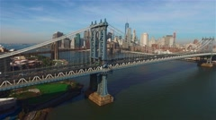 Aerial view of Manhattan bridge in New York. Camera freezes. Stock Footage