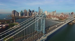 Aerial view of Manhattan bridge. Camera freezes. panorama of Manhattan - stock footage