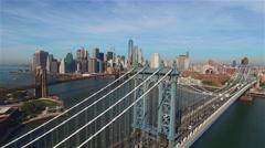 Aerial view of Manhattan bridge in New York. Camera freezes. - stock footage