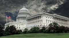 Capitol Building Washington DC with Clouds in Time-lapse in the Background Stock Footage